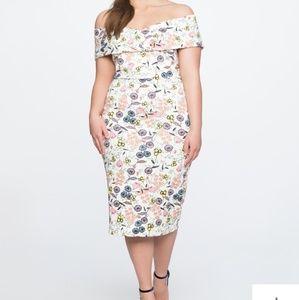 Eloquii Printed Off Shoulder Tea Length Dress 18